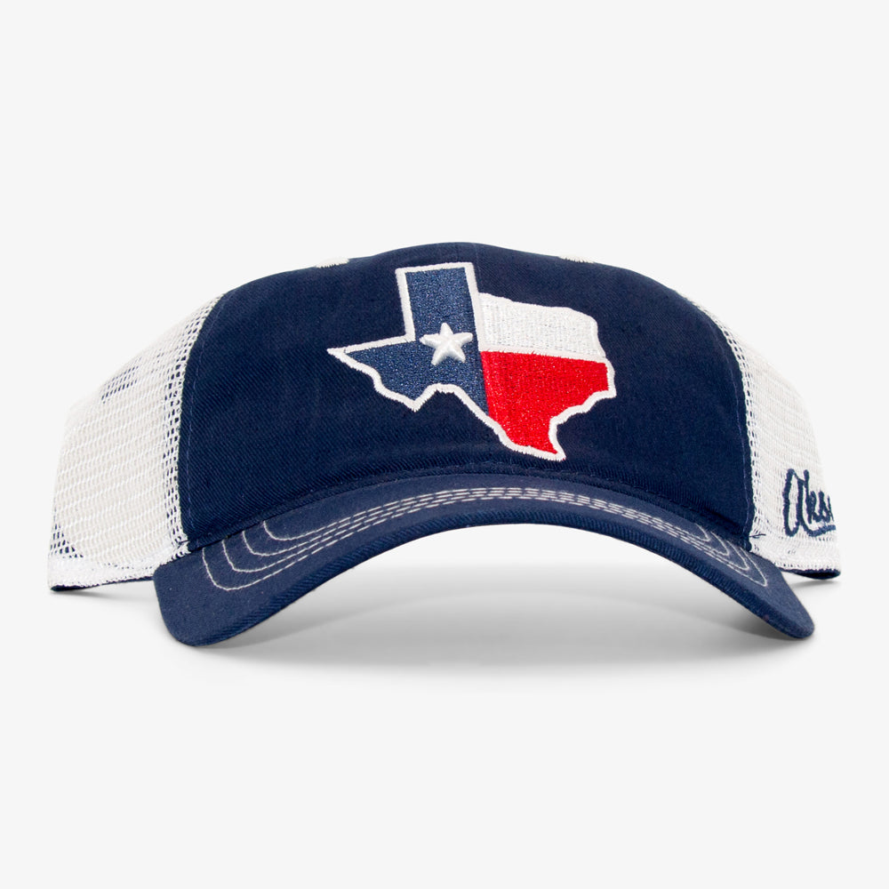 068c233d7c6eb State of Texas Curved Bill Hat - Navy. Texas Unstructured Trucker Hat
