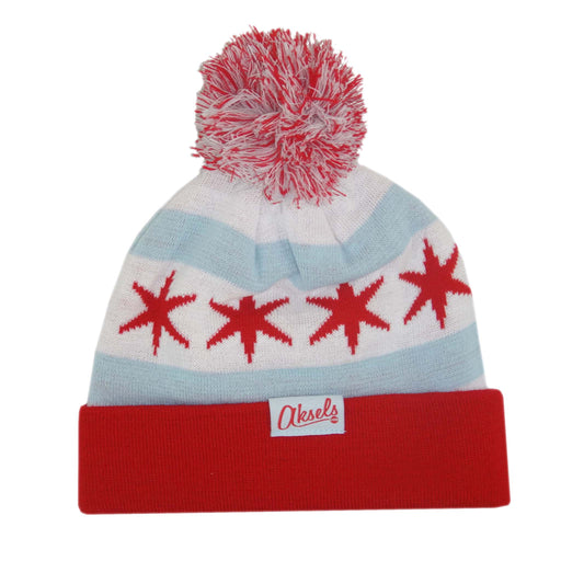 Aksels Chicago Flag Pom Beanie