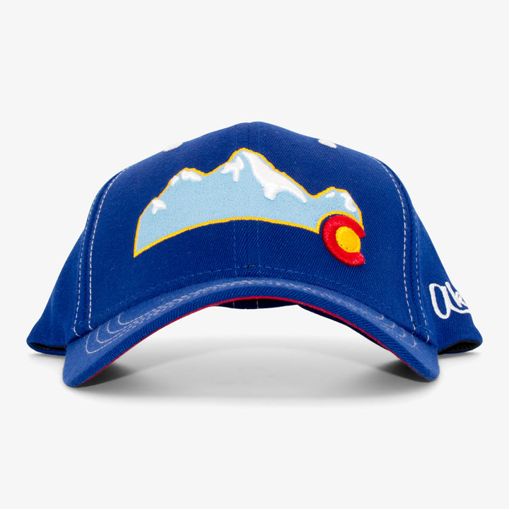 Colorado Mountain Curved Bill Flex Fit Hat - Royal