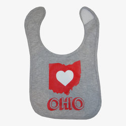 Ohio Heart State Outline Chalk Bib Grey