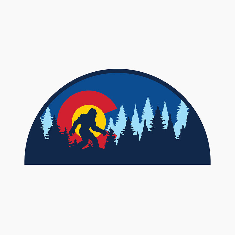 Colorado Flag Bigfoot Silhouette Sticker
