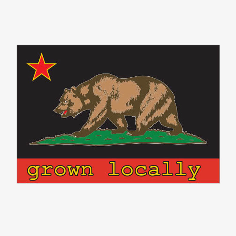 Grown Locally California Flag Sticker - Yellow