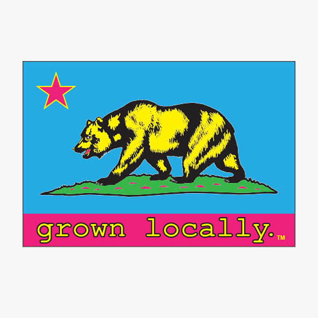 Grown Locally California Flag Sticker - Blue