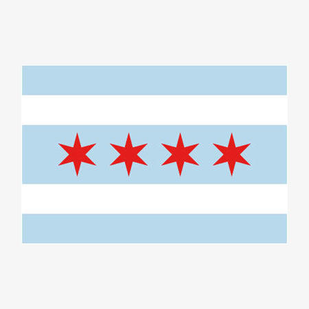 Aksels Chicago Flag Sticker - White