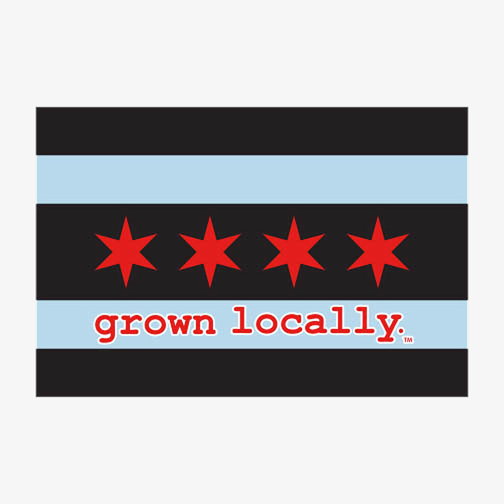 Aksels Grown Locally Chicago Flag Sticker - Black