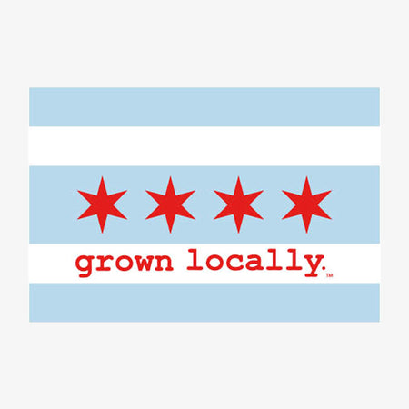 Aksels Grown Locally Chicago Flag Sticker - White