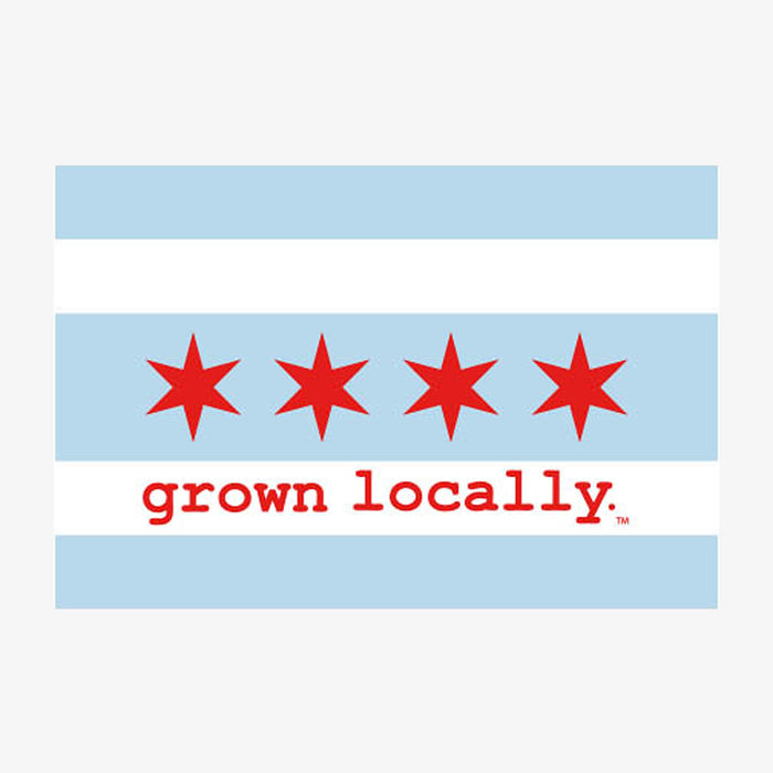 Aksels Grown Locally Chicago Flag Sticker - Blue