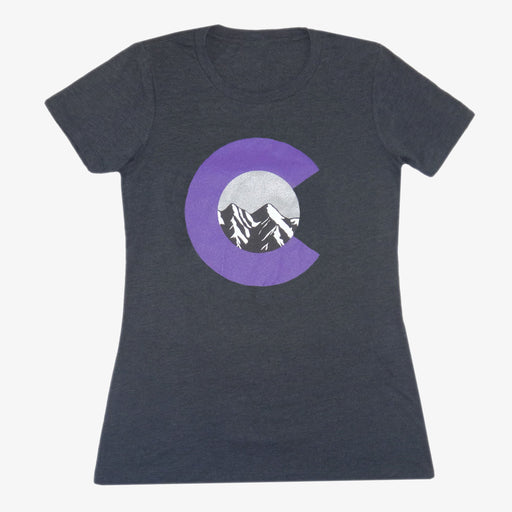Women's Colorado Mountain C T-Shirt - Charcoal/Purple