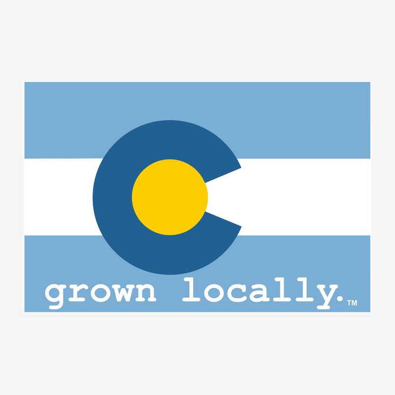 Aksels Grown Locally Colorado Flag Sticker - Neon Green