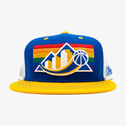 Aksels Denver Skyline Rainbow Basketball Trucker Hat