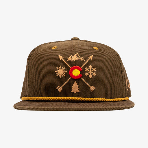 Aksels Colorado Arrows Corduroy Snapback Hat - Brown
