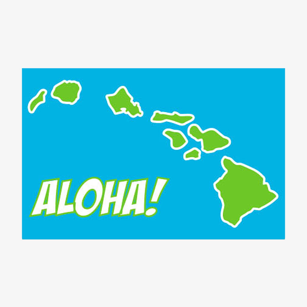 Aksels Aloha Hawaiian Islands Sticker - Aqua