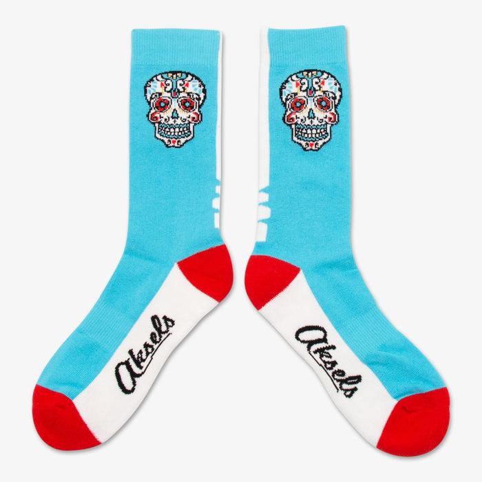 Aksels Day of the Dead Sugar Skull Socks - Aqua