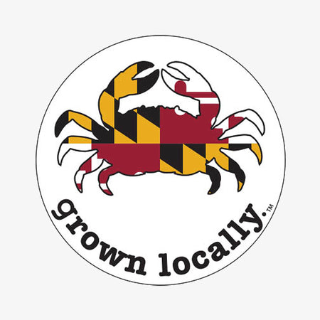 Aksels Grown Locally Maryland Crab Sticker - Neon