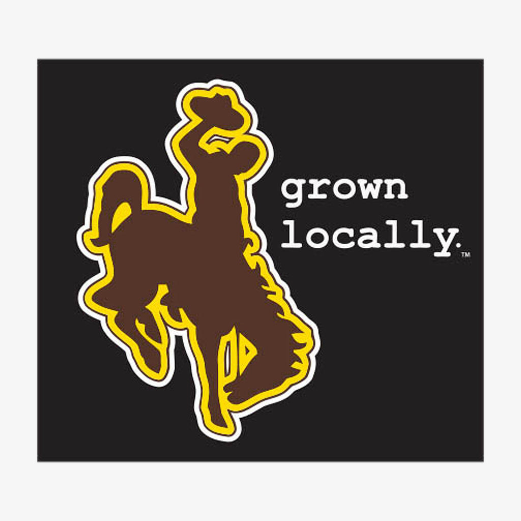 Aksels Grown Locally Wyoming Cowboy Sticker - Black