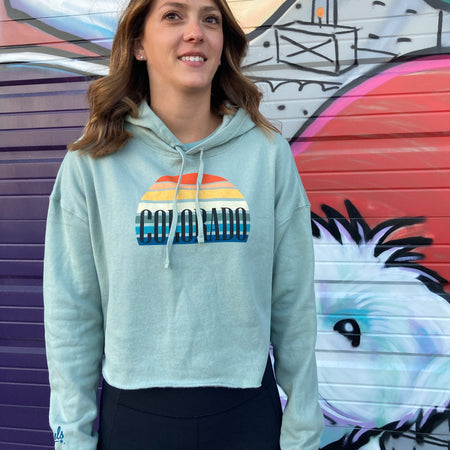 Women's Sunset Gradient Colorado Cropped Hoodie