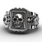 Stainless Steel Skull Engraved Ring For Men