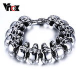 Vnox Cool Skull Men Bracelet Jewelry Stainless Steel Skeleton Chain