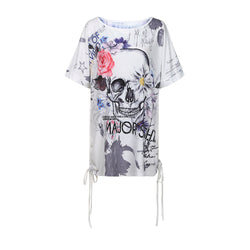 Women's Skull Printed Short Sleeve Blouse Casual Loose Shirt