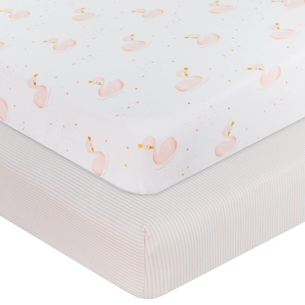 2 Pack Jersey Cot Fitted Sheet Swan Princess Pink Stripe