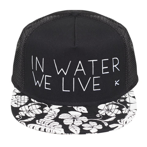 IN WATER WE LIVE Flower Trucker Hat