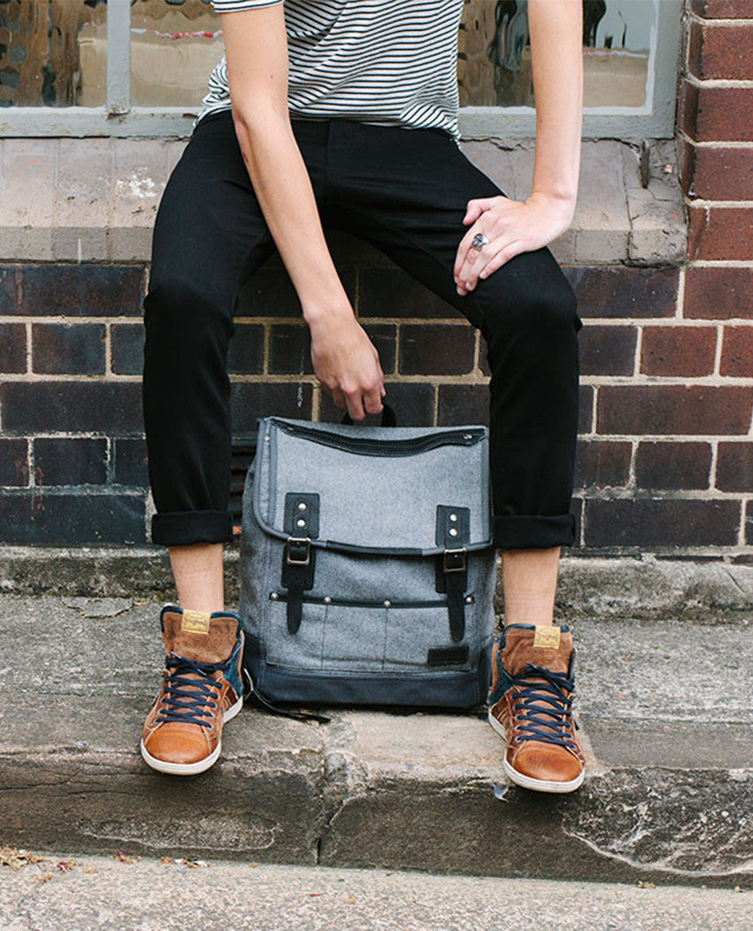 Woods Charcoal Backpack Multiple compartments thick cotton canvas Full leather trim