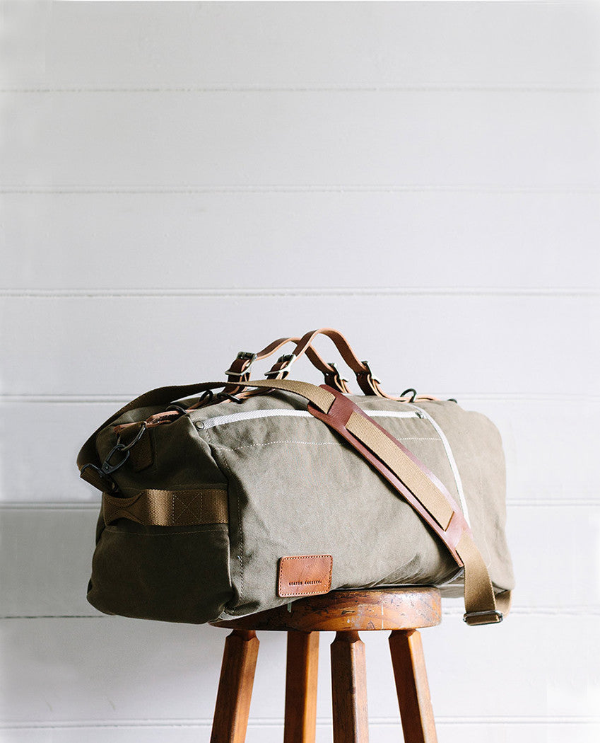Forgotten Many Bag Green perfect weekend duffle canvas and thick cowhide leather