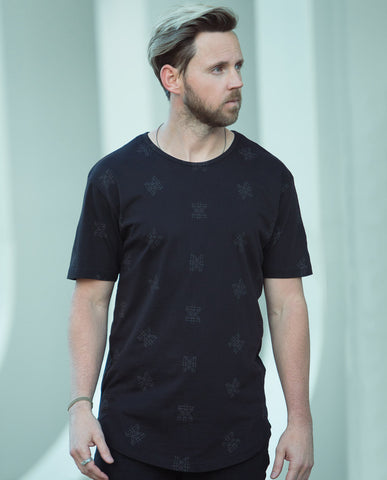 Astrneme Entropy Black Long Scalloped Tee