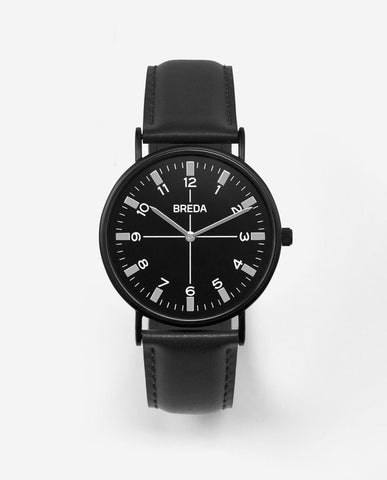 Breda Belmont Black Face Black Band Watch