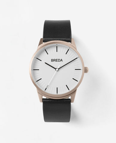Breda Bresson Black Leather Rose Gold Watch