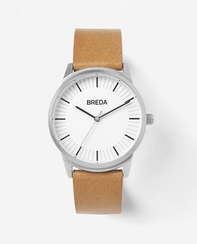 Breda Bresson Brown Leather Silver Frame Watch