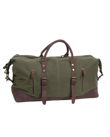 Canvas and Leather Extended Weekender Bag