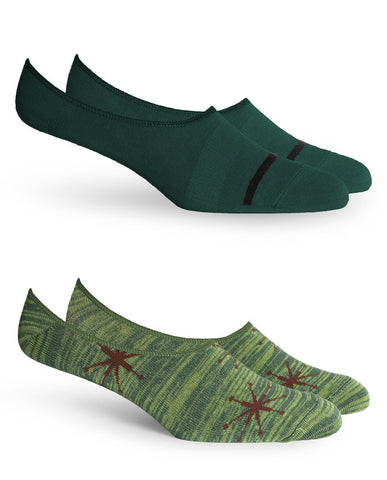 STARBOARD 2 PACK No Show Socks Green