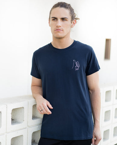 Rollas GDay Chain Stitch Tee in Navy