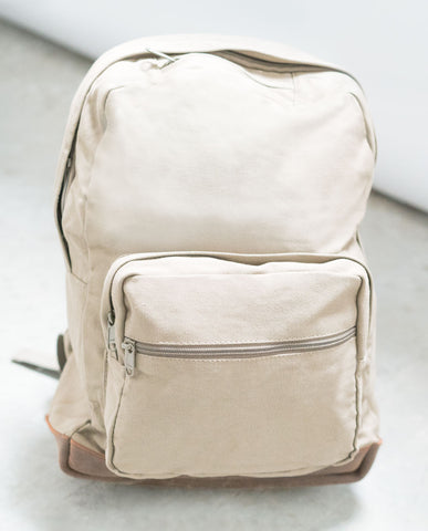Vintage Khaki Canvas Backpack with Leather Accents