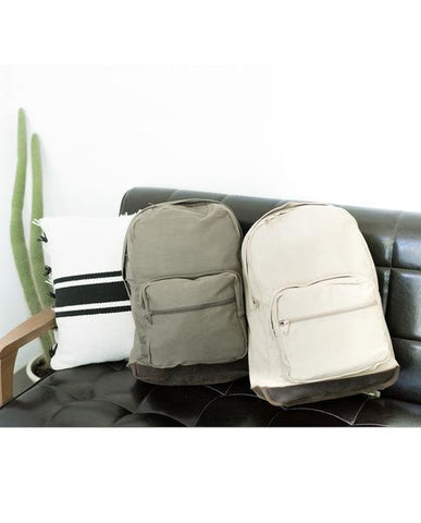 Vintage Olive Canvas Backpack with Leather Accents