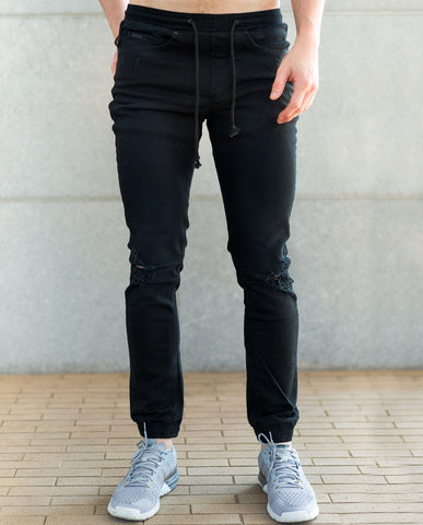 nANA jUDY Distressed Relaxed Black Jogger