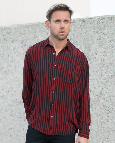 Neuw Burgundy Stripe LS Shirt