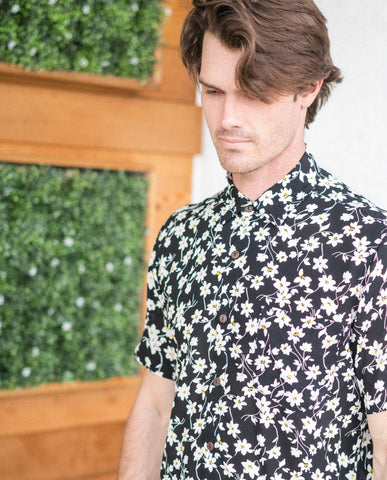 The People Vs Buttonup Shirt Black Flower