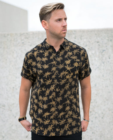 Rollas Bon Shirt Mono Palm Gold