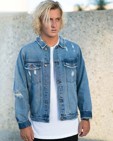 Rollas Distressed Stone Denim Jacket Indigo