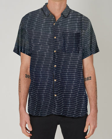 ROLLAS Beach Boy Grid Black Buttonup
