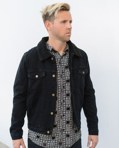Rollas Jet Black Denim Sherpa Jacket