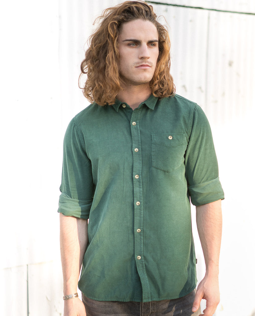 Rollas Men At Work Cord Shirt Trade Green