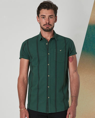 Rollas Men At Work Stripe Shirt Trade Green