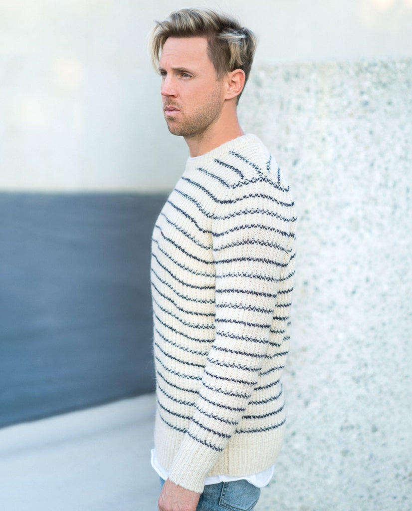 Rollas Mohair Knit Natural Navy Stripe Sweater