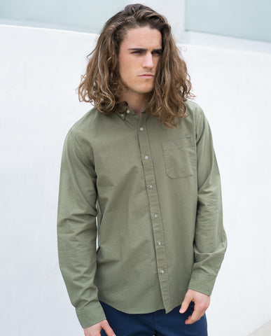 Tavik Uncle Long Sleeve Button Up Shirt Olive