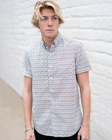 White Ikat Short Sleeve Buttonup