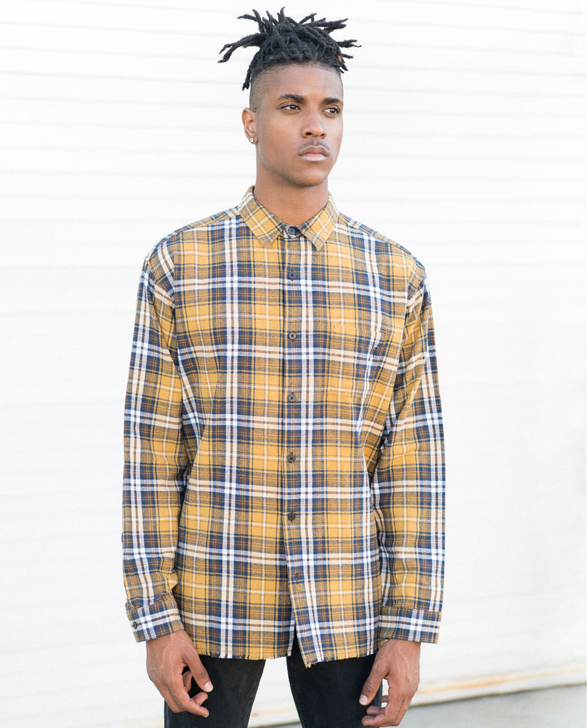NANA JUDY Central Yellow Plaid Button-up