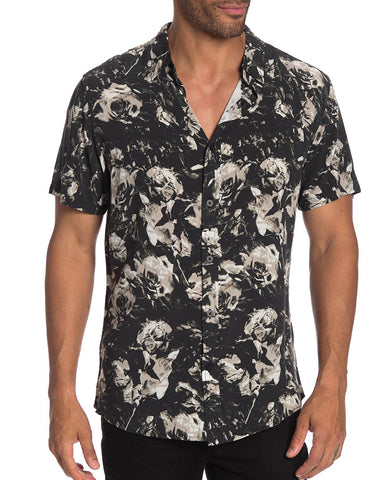 nANA jUDY Short Sleeve Black Rose Buttonup